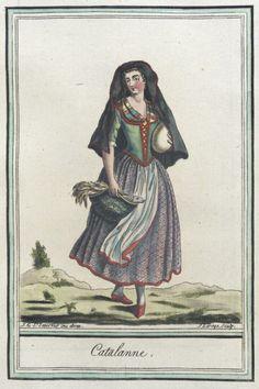 Costumes de Différents Pays, 'Catalanne'. Jacques Grasset de Saint-Sauveur (France, 1757-1810) Labrousse (France, Bordeaux, active late 18th century) France, circa 1797 | LACMA Collections M.83.190.94