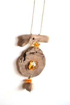 Charm/Necklace handmade from driftwood and natural by Grazim, $25.00