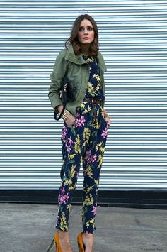 Amanda Marzolini saved this photograph titled 'Self reflection ' to their StyleSaint profile. ​Olivia Palermo, floral Whistles top and pants, olive green Topshop Jacket, Ann Taylor belt Kurt Geiger shoes, Mulberry Handbag, and Rolex watch, street style.