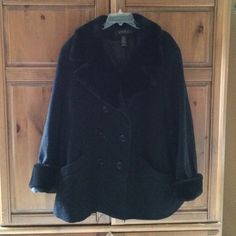 wool black X-warm dress jacket soft plush trim Black wool dress jacket with soft plush collar and cuffs. Excellent condition with full lining. Lane Bryant Jackets & Coats