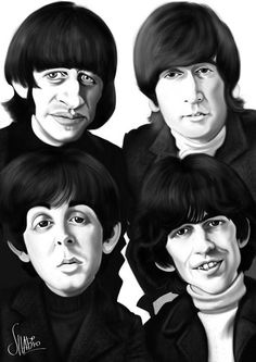 Caricatura de The Beatles