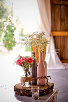 Using a piece of wood instead of a glass mirror can add a rustic twist to any table centrepiece