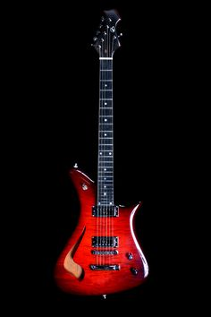 Becker Guitars Semi-hollow HeadHunter Roller with Red Burst finish