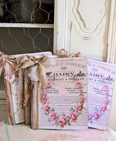 decorate composition book with paper, ribbon, lace, feathers, beads; 12 spine - leather, paper, burlap, linen