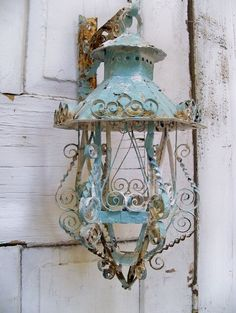 especially if you have that rustic theme going on. Shabby chic scroll work metal lantern candle holder with hanger ooak Anita Spero