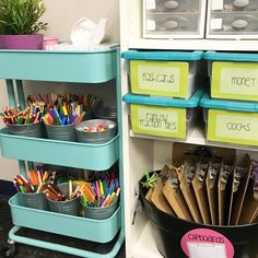 Our community supply area has evolved throughout the year and I finally feel like it works perfectly for us! I had been wanting an excuse to buy that IKEA cart for a while and after seeing how the sweet @themrsodie used it as a supply cart in her classroom, I was sold! Do you have any area for community supplies in your classroom?