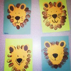 Lions. Thumb printed manes!