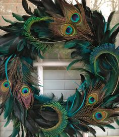 Peacock Feather Wreath by DecorDeAmor on Etsy