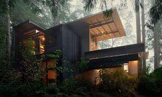 V lesích u Longbranchu vyrostl ze dřeva útulný dům