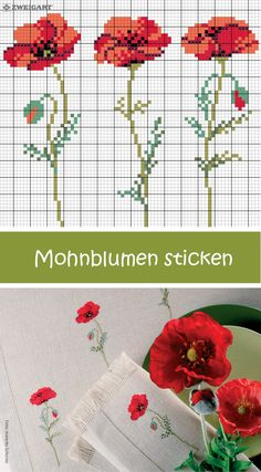 Mohnblumen sticken #Sticken #Kreuzstich / #Blume; #Embroidery #Crossstitch / #poppies / #ZWEIGART