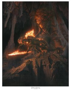 "Licensed The Lord of the Rings and The Hobbit artist Jerry Vanderstelt, has recently finished his latest piece of art, ""Bane of Durin"", featuring the Balrog. Wreathed in ancient flames, the Balrog is captured in a never-before seen part of Moria, guarding his vast domain."