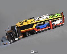 Auto Transporter Trailer Racing Stripes, Semi Trucks, Lego Sets, Transportation, Champion, Lego Vehicles, Rigs, Lego Games, Wedges
