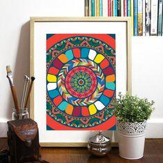 Modello India ispirato Poster arcobaleno di tessuto tribale ispirato modelli motivi luminosi colori felice colori buon vibe simetric modello geometrico