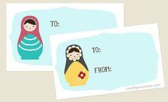 Free Printable:  Matryoshka Dolls Gift Tags