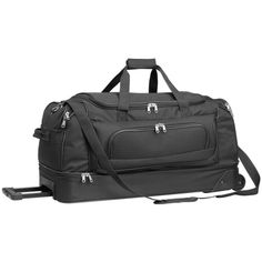 Extra Large Double Decker Trolley Bag Made From Nylon. It Includes All-Round Zippered Compartments, Trolley Wheels And Is Available In Various Colours. Zip Puller, Trolley Bags, Bag Making, Travel Bags, Storage Spaces, Travelling, Bacon, Wheels, Boxes