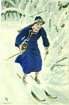 Kunstnerkort Andreas Bloch dame på skitur utg Mittet brukt 1910-tallet