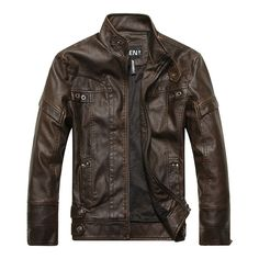 Motorcycle Fashion Thicken PU Leather Stitching Stand Collar Button Jacket for Men is Stylish-NewChic Mobile.