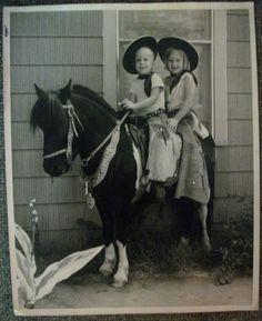 Vintage Photo Cowboy Girl and Boy on Pony Hats Chaps | eBay