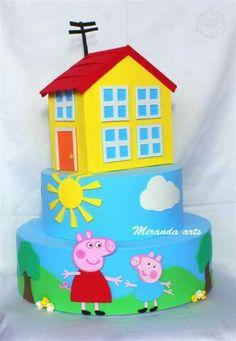 Bolo Pepa e Jorge Peppa Pig, Pig Birthday, Toy Chest, Princess Peach, Bolo Fake, Nova, Base, Home Decor, Cakes