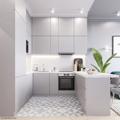 45 Inspiring Tiny Kitchen Design Ideas - You have a new job, and you're happier still about moving to a new neighborhood in the city. Your new apartment seems fine, and it would be perfect if. Kitchen Room Design, Kitchen Cabinet Colors, Modern Kitchen Design, Home Decor Kitchen, Kitchen Layout, Kitchen Living, Interior Design Kitchen, Home Kitchens, 50s Kitchen