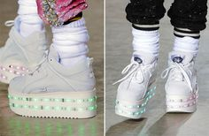 can we PLEASE just appreciate the most amazing shoes on earth. Topshop x Ashish x Buffalo Light up platform trainers from London Fashion Week!!! More pics on my tiny post here