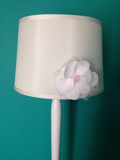 Thrift store lamp shade makeover added pink organza fabric and trim added the flower to a new lampshade using picture mounting tape template to make flower came from martha stewart crafts aloadofball Gallery