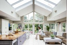 Real home: a light and airy extended bungalow Jacqueline and Adrian Neville maximised the potential of their bungalow and created the perfect family space Kitchen Diner Extension, Open Plan Kitchen, Kitchen Extension Bungalow, Kitchen Extension Ideas Ireland, Bungalow Extension Plans, Orangery Extension Kitchen, Conservatory Kitchen, Space Kitchen, Family Kitchen