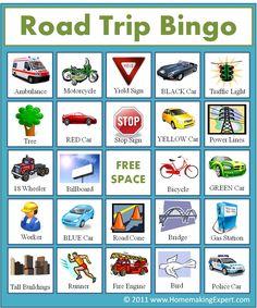 FREE Road Trip Bingo Game for Kids ~~ Homemaking Expert