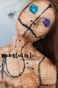Halloween Voodoo Doll Makeup Tutorial for 2015 - Party, Body Painting - Sugar skull makeup ideas for girls that you must learn in 2014 ! Costume Halloween, Halloween Looks, Creepy Halloween, Doll Costume, Costume Makeup, Halloween Party, Scary Scarecrow, Halloween 2013, Halloween Stuff