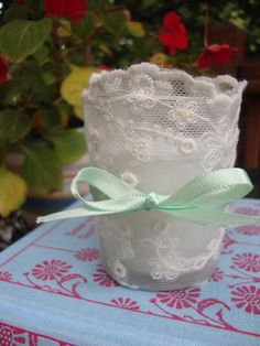 Lace Trimmed Votive Candle Holder Unscented $3.50