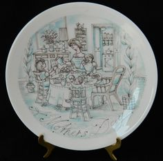 "Vintage Haviland France Mother's Day Collector Plate ""Breakfast"" 1973 8.5"""