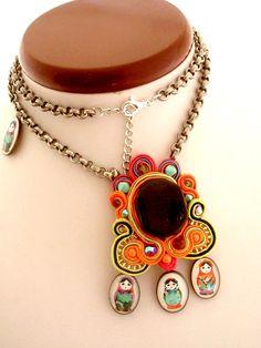 Matryoshka soutache necklace  nectarine and by beadsofaquarius