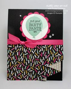 Click here to see four versions of the same card with a Pleated Skirt Fold using the new Sale-A-Bration 2016 Party Pants stamp set and It's My Party designer paper – how-to video here as well…#stampyourartout #stampinup - Stampin' Up!® - Stamp Your Art Out! www.stampyourartout.com