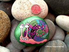 Snazzy Snail - Hand-Painted Beach Stone / Beach Rock From The Atlantic Ocean In Beautiful Rye, NH © 2016 Cheri PK All stones are original, one-of-a-kind, hand painted (with love!) designs on stones collected from the beautiful and quaint Rye Harbor in Rye, New Hampshire, USA located on the