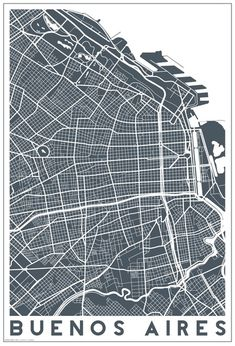 Buenos Aires map Art Print by Studio Tesouro - X-Small Travel Illustration, Map Design, City Maps, Vintage Maps, Urban Planning, Grafik Design, Map Art, Travel Posters, Wall Prints