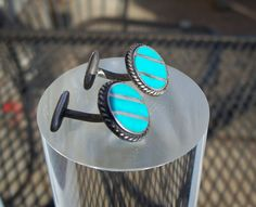Turquoise Cuff Links, Art Deco Cuff Links, Southwestern,Cuff Links, Navajo,Cufflinks, Striped Cuff Links, Unusual, Silver Turquoise, Vintage by Oldtreasuretrunk on Etsy