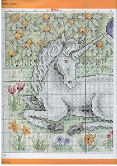 White Unicorn Part 1 Cross Stitch For Kids, Cross Stitch Boards, Cross Stitch Kits, Cross Stitch Patterns, Dragon Cross Stitch, Fantasy Cross Stitch, Cross Stitching, Cross Stitch Embroidery, Embroidery Patterns