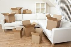 Room Of Cardboard Boxes for Moving House. Empty room full of cardboard boxes for , Cardboard Boxes For Moving, Moving Boxes, First Apartment, Apartment Living, Living Room, Studio Apartment, Apartment Ideas, House Removals, Moving And Storage