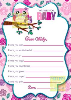 Pink+Owl+Wishes+for+baby+card++Owl+Baby+Girl+by+artisacreations,+$8.00