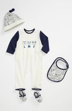 LITTLE MARC JACOBS Romper, Bib & Hat Set (Baby) available at #Nordstrom