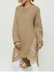 Openwork High Low Sweater - EARTHY ONE SIZE