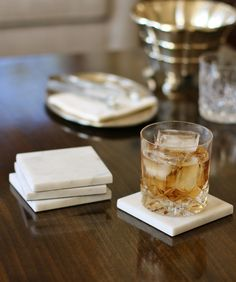 Set of 4 White Marble Coasters, High Street Market