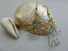 GOLD MERMAID EARRINGS wire wrapped by chatnoir77 on Etsy, $14.00