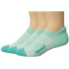 Feetures Elite Max Cushion No Show Tab 3-Pair Pack (Mint/Capri) No... (5275 RSD) ❤ liked on Polyvore featuring intimates, hosiery, socks, mint socks, mint green socks and feetures socks