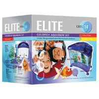 elite Cool Kit Purple 14 Litre Goldfish Aquarium Set. Simple To Set Up, Easy To Maintain, Just Add Water And Goldfish. Contains Elite Mini Filter, 1.5kg Gravel, 2 Artificial Plants, 59ml Water Conditioner amp