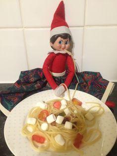 Elf on the shelf. Spaghetti