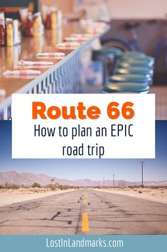 How to plan an epic road trip along route 66 with sweet old towns, neon lit motels and amazing scenery. From national parks to big cities you'll see all of America on this classic US road trip. Route 66 Road Trip, Us Road Trip, Route 66 Planner, Vintage Diner, Historic Route 66, Old Gas Stations, Bucket List Destinations, Roadside Attractions, New Mexico