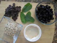 Ingredients for the Dark Chocolate Oatmeal with a Side of Minted Blueberry Yogurt from my newest book S.A.S.S! Yourself Slim