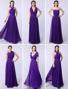 A-line Floor-length Chiffon Convertible Bridesmaid Dress with Seven Styles - Milanoo.com