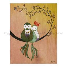 A Whisper Of Love art print featuring owls  malathip kriheli  New York, NY,   United States